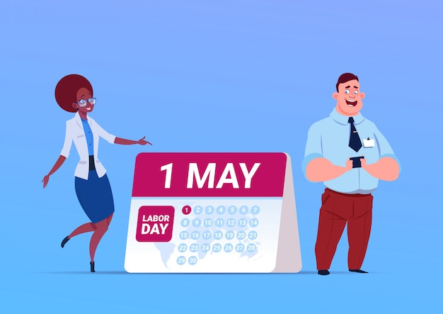 Happy 1 may labor day poster with business man and woman over calendar