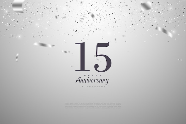 Happy 15th anniversary background with falling silver paper illustrations.