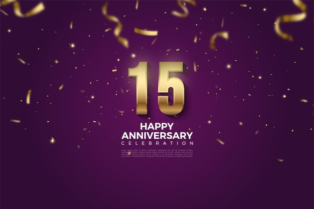 Happy 15th anniversary background with gold paper illustration falling on purple background.