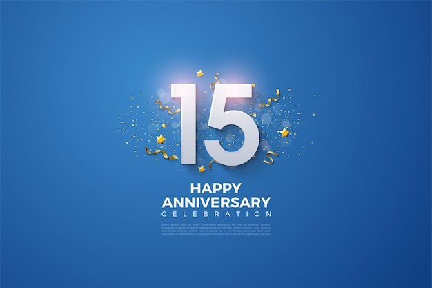 Happy 15th anniversary with festive party on blue background.
