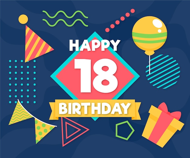 С 18-м днем рождения фон с воздушными шарами и шляпой