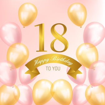Happy 18th birthday background with realistic balloons