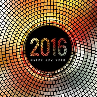 Happy 2016 card with mosaic Free Vector