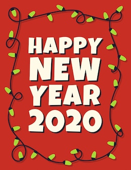 Happy 2020 new year card with garland
