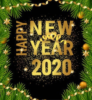 Happy 2020 new year christmas tree branches frame