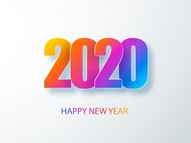 Happy 2020 new year colour banner in paper style. 2020 modern text   for your seasonal holidays flyers, greetings and invitations, christmas themed congratulations and cards.  illust