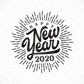 Happy 2020 new year lettering with burst illustration.