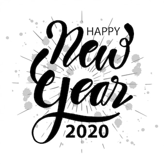 Happy 2020 new year. lettering