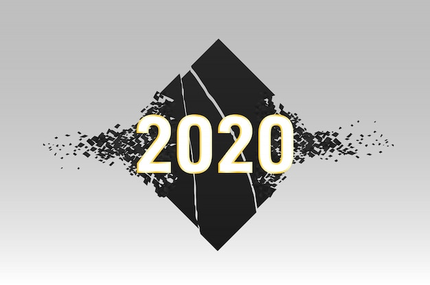 Happy 2020 new year stamp