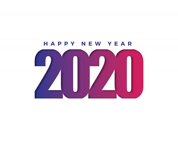 Новогодняя открытка happy 2020 в бумажном стиле