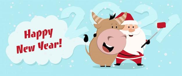Happy китайский новый год 2021 версия. зодиак быка мультипликационный персонаж традиционный. новогодние открытки 2021.