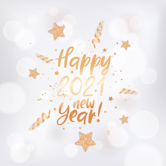 Happy 2021 new year card with gold stars, confetti and glitter on white blurred background with golden frame and lettering. elegant new year greeting postcard, invitation flyer, promo brochure design