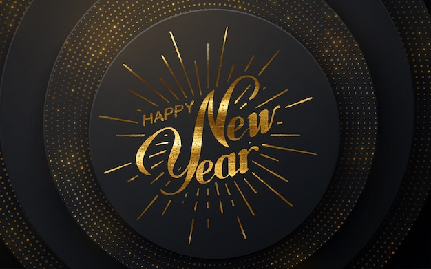 Happy 2021 new year. holiday  illustration with lettering composition and burst.  black papercut background. glittering backdrop. festive banner design