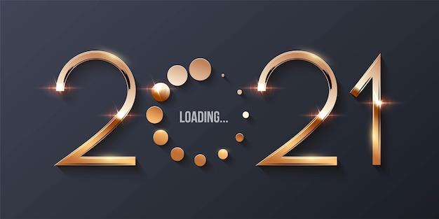 해피 2021 새해 로딩 개념.