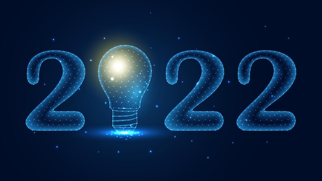 Happy 2022 happy new year with a lightbulb line connection. low poly wireframe design. abstract geometric background. vector illustration.