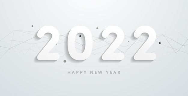 Happy 2022 new year with abstract network line shape and texture elements. modern black and white greetings and invitations, new year christmas themed congratulations background. vector. illustration.