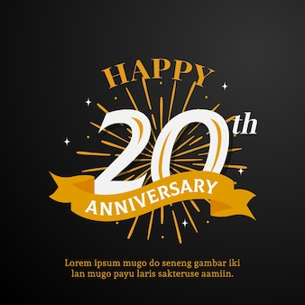 Happy 20th anniversary logo template