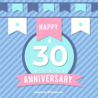 Happy 30th anniversary background in flat style