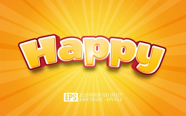 Happy 3d text editable style effect template