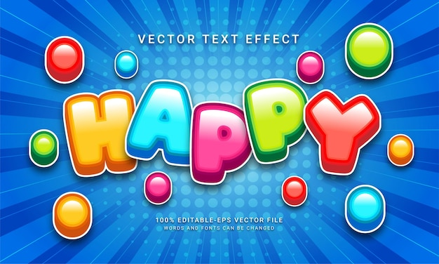 Happy 3d text style effect themed happy