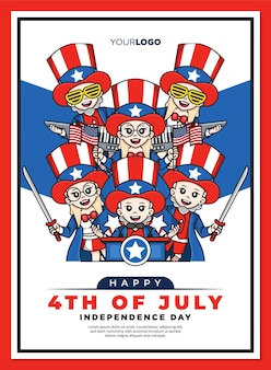 Happy 4th independence day of united states america poster template with cute cartoon character of uncle sam mascot