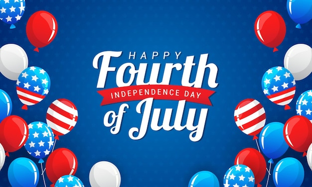 Happy 4th of july balloons background