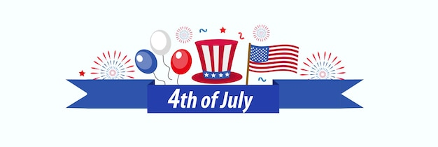 幸せな7月4日のバナーポスター。あなたのデザインのためのアメリカ独立記念日のテンプレート。ベクトルイラスト。