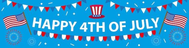 Счастливый 4 июля баннер плакат. американский день независимости шаблон для вашего дизайна. векторная иллюстрация. Premium векторы