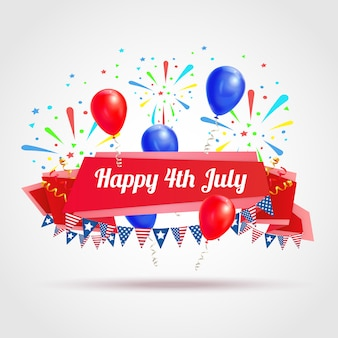 Happy 4th of july greeting postcard with festive flags fireworks and balloons symbols realistic illustration