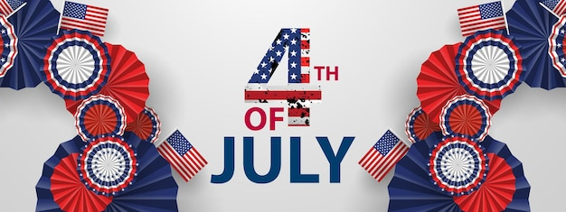 Happy 4th of july holiday banner. usa independence day celebration background. Premium Vector