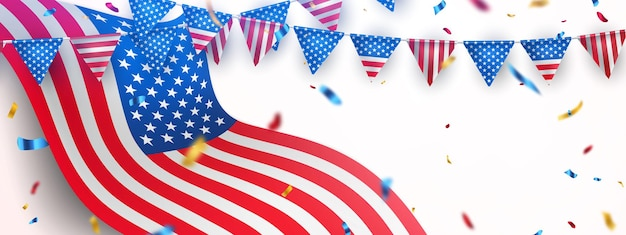 Happy 4th of july holiday banner. usa independence day celebration background.