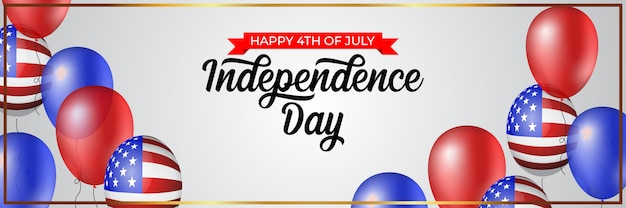 Happy 4th of july independence day banner illustration