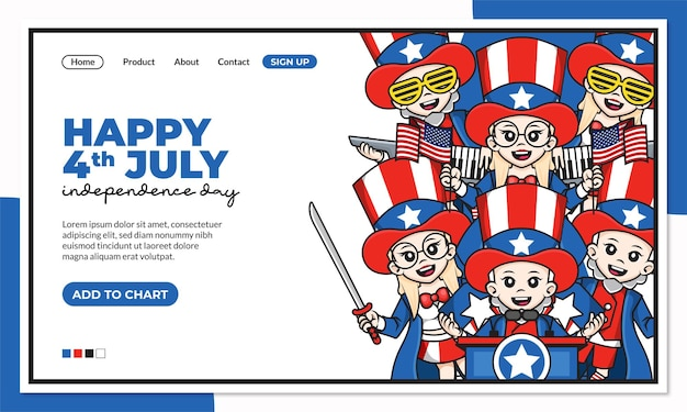 Happy 4th july independence day of united states america landing page template with cute cartoon character of uncle sam