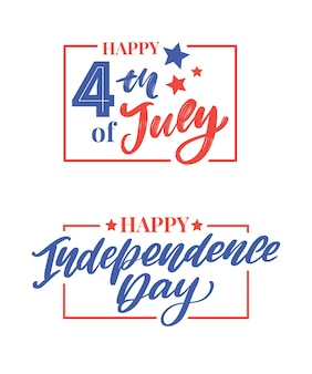Happy 4th of july lettering set