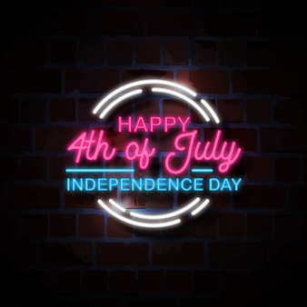 Happy 4th of july neon style sign illustration