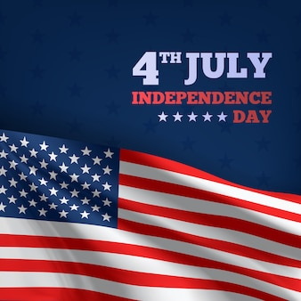 Happy 4th of july usa independence day, 3d advertising textile vector flags