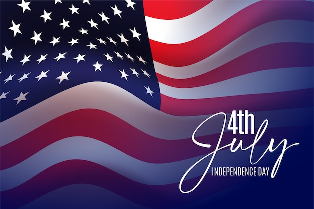 Happy 4th of july usa independence day greeting  with waving american national flag and hand lettering text design.