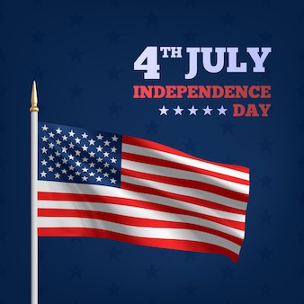 Happy 4th of july usa independence day. waving flag of the america