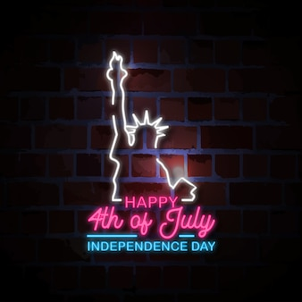 Happy 4th of july with liberty statue neon style sign illustration