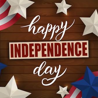Счастливый день независимости 4 июля рука надписи со звездами и флагом.
