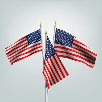 7月4日のアメリカ独立記念日おめでとう。アメリカの3d旗。 Premiumベクター