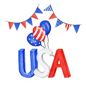 アメリカの国旗が付いた7月4日のアメリカ独立記念日のグリーティングカード。