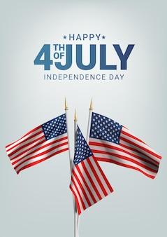 С днем независимости сша 4 июля. развевающийся флаг америки.