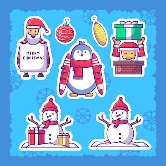 С рождеством христовым персонаж милый набор наклеек санта-клауса иллюстрация