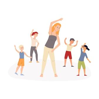 小学校や幼稚園の先生、白い背景のイラストで朝の体操をやっている幸せなアクティブな子供たちのグループ。