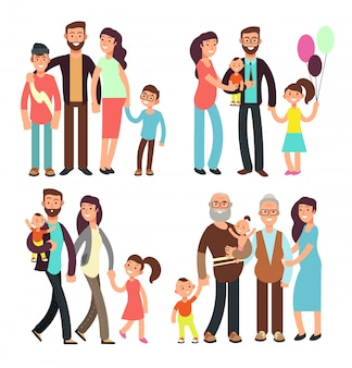 Happy active family cartoon people vector characters