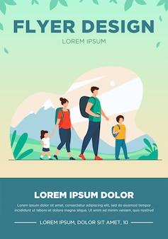 Счастливая активная семья, прогулки на свежем воздухе. пара туристов с детьми в походах с походными рюкзаками. векторная иллюстрация для отдыха, горных походов, деятельности, концепции образа жизни