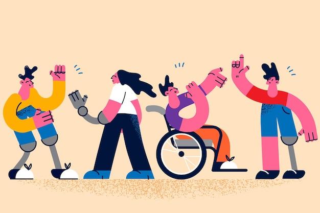 Счастливый активный образ жизни людей с ограниченными возможностями концепции. группа молодых людей с ограниченными возможностями, играющих, общаясь, чувствуя себя позитивно и уверенно, векторная иллюстрация