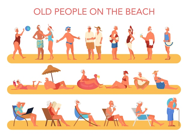 Happy and active seniors spending time on the beach. retired people on their summer vacation. woman and man on retirement.