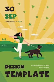Happy active woman walking dog on leash outdoors. girl with pet near lake, landscape, water flat flyer template